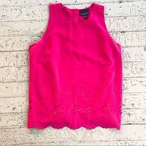 Cynthia Rowley laser cut pink top blouse large
